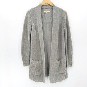 LOFT Gray Chunky Knit Cotton Long XS Open Cardigan